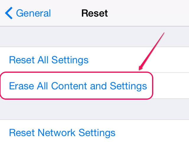 Choose Erase All Content and Settings.