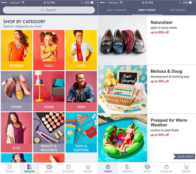 Screenshot of Zulily app