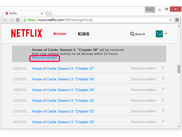 how to remove a continue watching from netflix