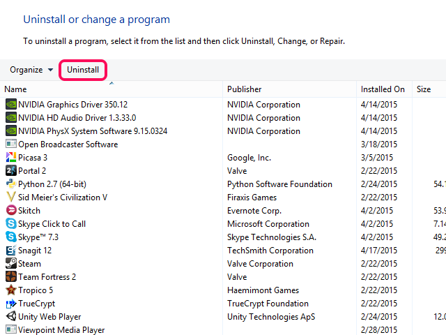 Uninstall or Change a Program window with Uninstall button highlighted.