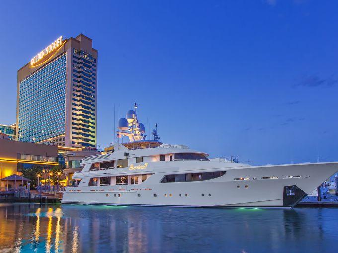 Golden Nugget, Casino, Aerial,  Exterior, Marina District, Atlantic City, dusk