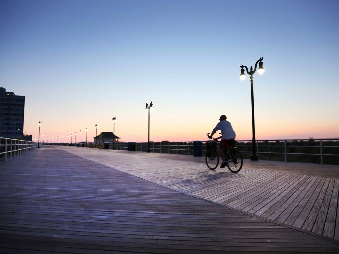 Atlantic City, Atlantic City beach, Atlantic Ocean, Boardwalk, Rolling Chairs, sunrise, skyline, crowd, famous, historic, biking