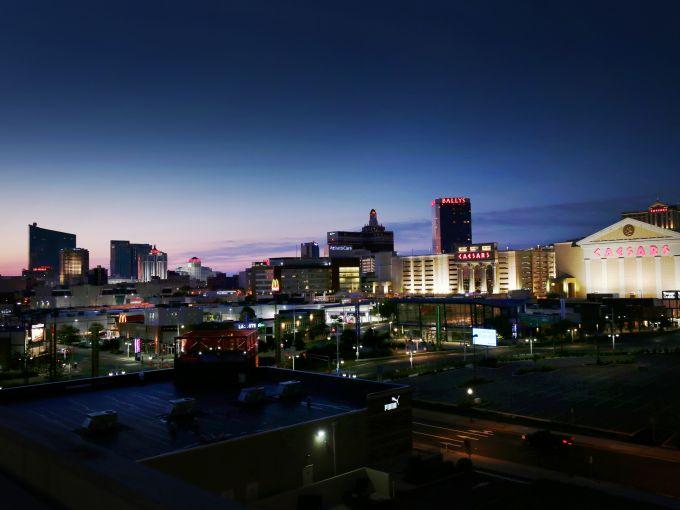 Atlantic City, Atlantic City beach, skyline, Atlantic Ocean, casinos, hotel, Boardwalk, nighttime, Boardwalk Hall, colorful, dusk