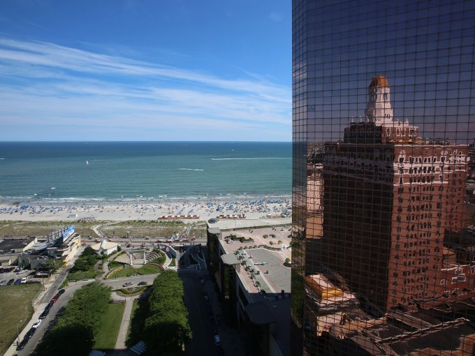 Claridge, Hotel, Historic, Water Fountain, Façade, Exterior, Atlantic City, Boardwalk, Ocean, Beach, View, Glass, Mirror