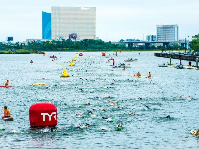 Ironman, athlete, participate, swim, bike, run, race, Atlantic Ocean, skyline, bikes, water, agility, sweat, Atlantic City