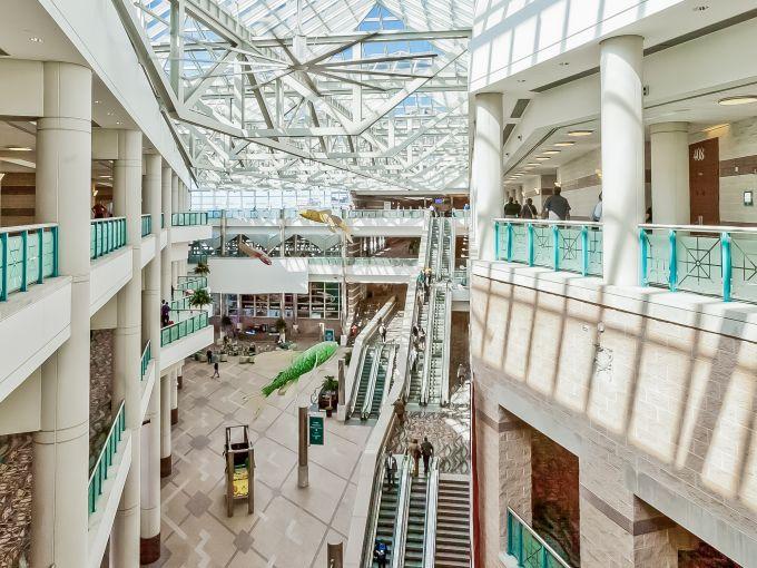Atlantic City, Convention Center, meetings, trade shows, conferences, conventions, expos, interior, architecture, fish, atrium lobby, design, upper level, escalator, roof, ceiling, lobby, concierge
