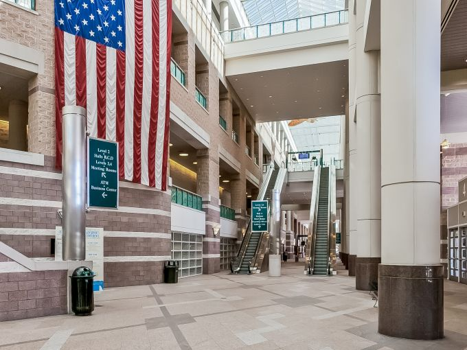 Atlantic City, Convention Center, meetings, trade shows, conferences, conventions, expos, interior, architecture, fish, atrium lobby, design, seating, lobby, concierge, escalator, roof, ceiling, American Flag