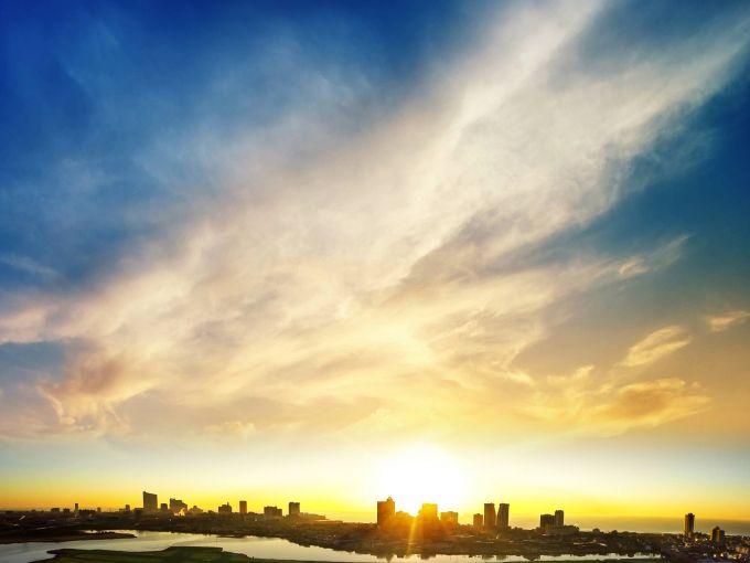 Atlantic City, Atlantic City beach, skyline, Atlantic Ocean, casinos, hotel, Boardwalk, daytime, sunset
