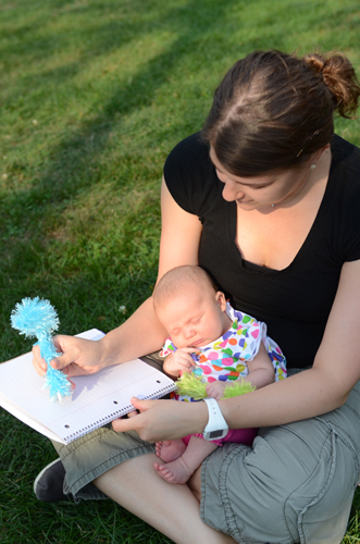 Shirah journaling with her baby... photo by Jordyn Rozensky