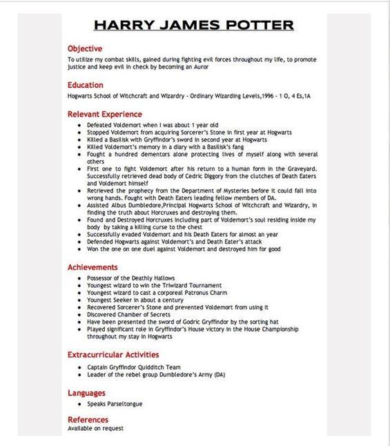 fictional resume