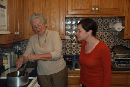 Ruth Fein teaches Laura Mandelto make her family stuffed cabbage