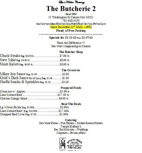 The Butcherie 2 in Canton MA Weekly AD