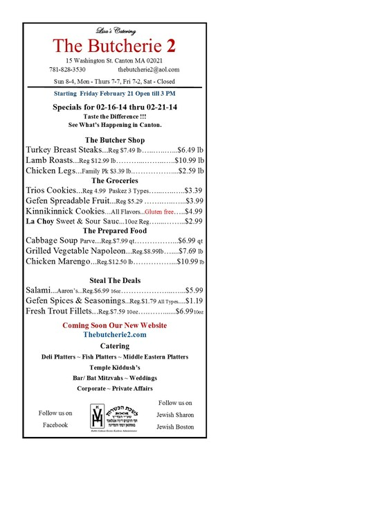 The Butcherie 2 in Canton  Weekley Ad for February 16-21