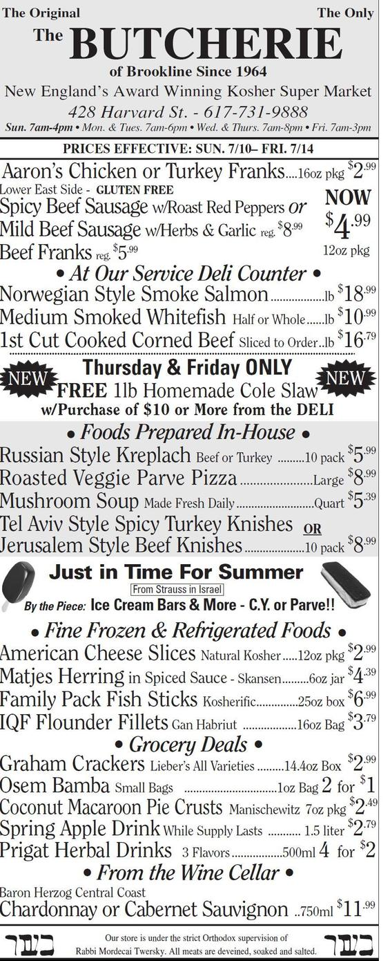 THE BUTCHERIE WEEKLY AD JULY 10-14