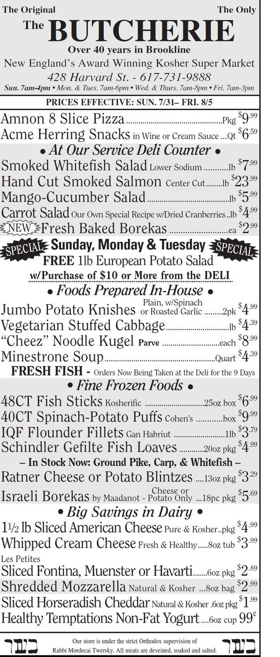THE BUTCHERIE OF BROOKLINE WEEKLY AD