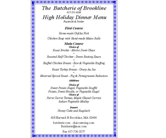 The Butcherie of Brookline Holiday Dinner Menu