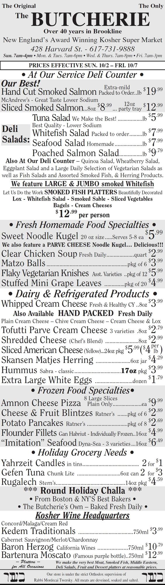The Butcherie of Brookline Weekly Ad Oct 2-7