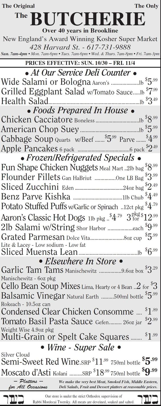 The Butcherie of Brookline Weekly AD October 30 - Novenber 4