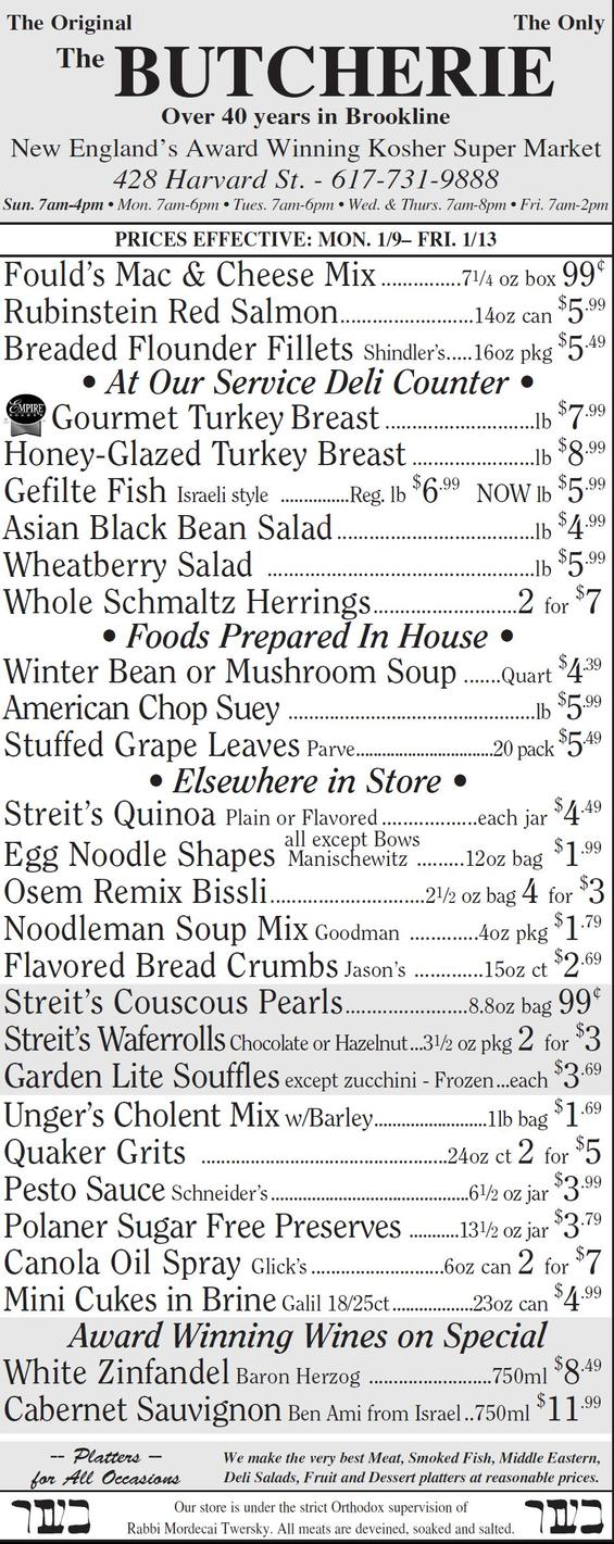The Butcherie of Brookline Weekly AD JANUARY 9-13