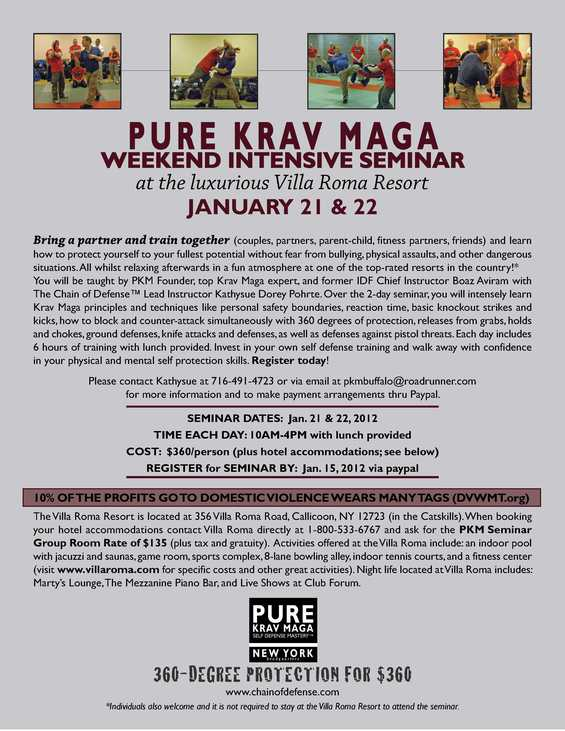 PURE KRAV MAGA WEEKEND INTENSIVE SEMINAR WITH BOAZ AVIRAM at the VILLA ROMA RESORT (Catskills, NY) / January 21&22, 2012