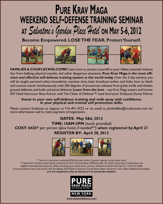 PURE KRAV MAGA WEEKEND SELF-DEFENSE TRAINING SEMINAR ON MAY 5&6, 2012