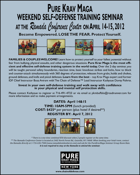 PURE KRAV MAGA WEEKEND SELF-DEFENSE TRAINING SEMINAR ON APRIL 14&15, 2012