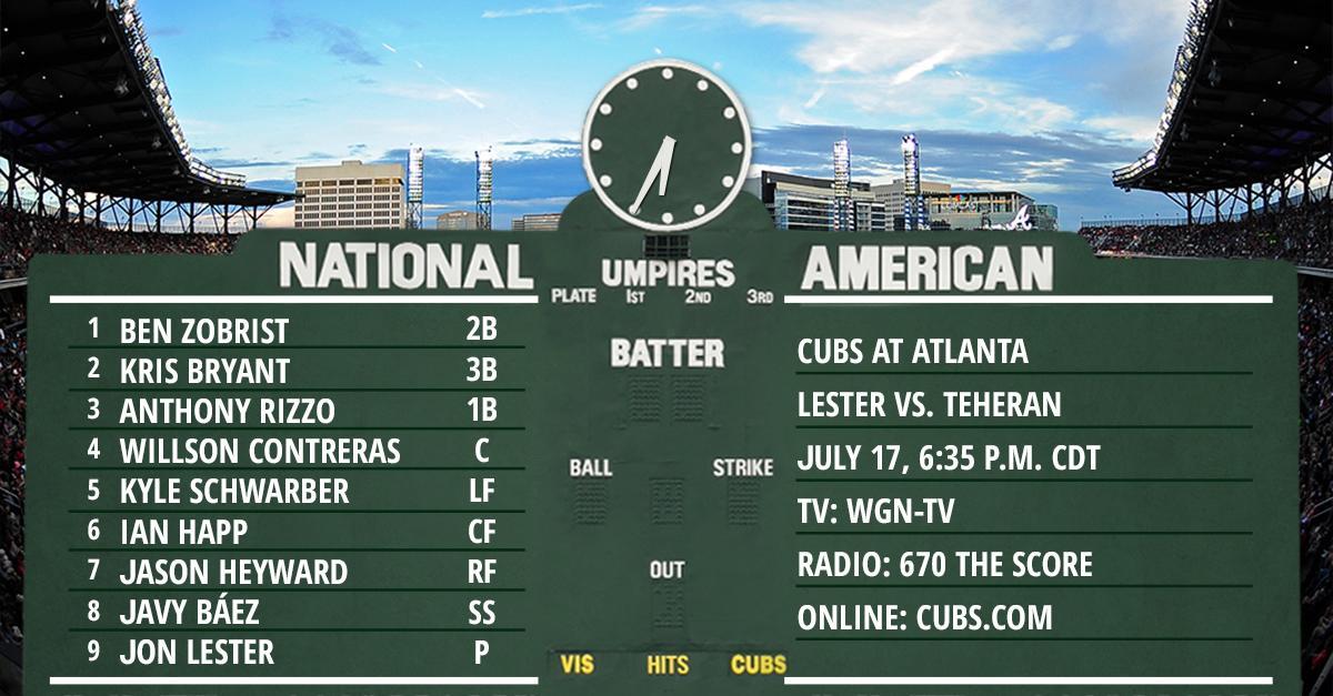 Lester, Cubs open 3-game set in Atlanta
