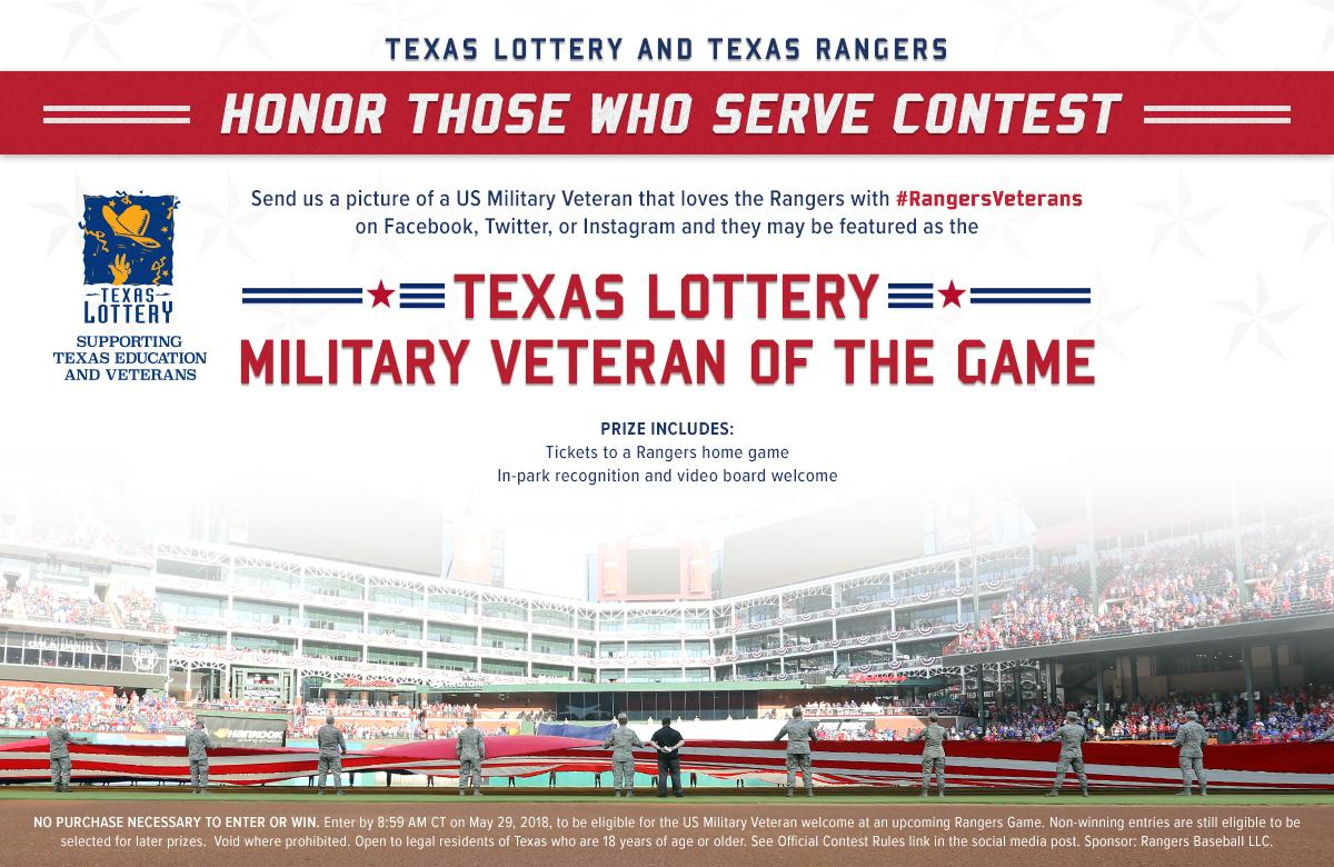 Texas Lottery and Texas Rangers Honor Those Who Serve - Contest Rules