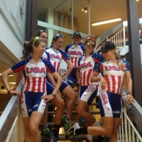 The women relax before the team presentation of the 2013 Route de France