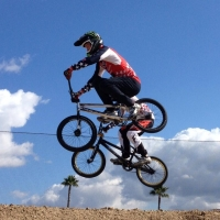 Connor Fields is flying high during a skills demo