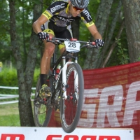 Kerry Werner over the SRAM ramp