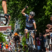 Shelley Olds celebrates clinching the overall title on Chilkoot Hill