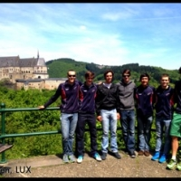 The gang in front of Vianden Castle in Luxembourg