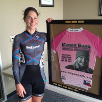 Jennifer Marie Zierke poses with Megan Baab Memorial Scholarship Jersey