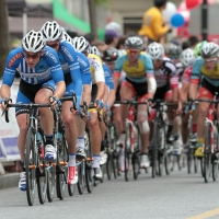 The riders for UnitedHealthcare form their train in the front