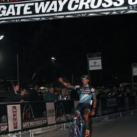 Ben Berden celebrates winning the first race of the 2013 Gateway Cross Cup