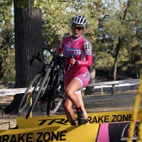 Elle Anderson hopping over the barriers at the 2013 Gateway Cross Cup