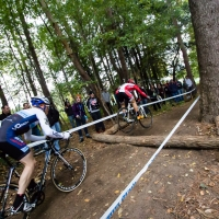 Jake Wells and Stephen Hyde roar through the woods on Sunday