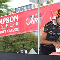 A rider signing in for the race