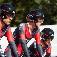 Tejay van Garderen (center) and his BMC Racing Team teammates get set to race the clock