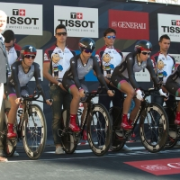 The Specialized-Lululemon team awaits its turn in the start house