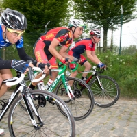 Ryan Eastman on the cobbles of the 2014 U23 Tour of Flanders.