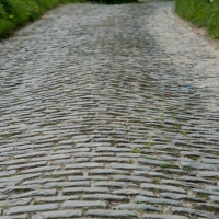 The cobbles of the Molenberg climb