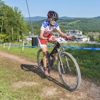 Kate Courtney on her way to a 10th-place finish at the 2014 UCI MTB World Cup in Windham, N.Y.