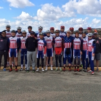 The group poses for a group photo before competing in the Boulevard Road Race