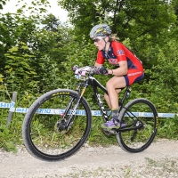 Erin Huck competes at the 2014 UCI Mountain Bike World Cup #4.