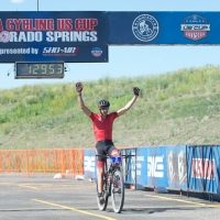 Todd Wells crosses the line to win the US Cup Pro Series finale in Colorado Springs