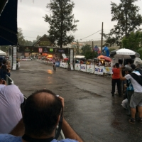 Stephen Ettinger crosses the line in the rain to win the 2014 Pan Am MTB Championships