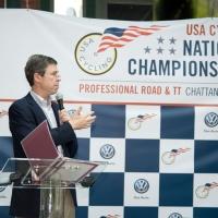 Chattanooga Mayor Andy Berke addresses the athletes