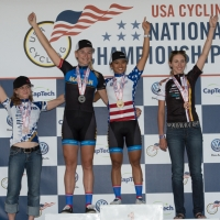 Division I women road race podium